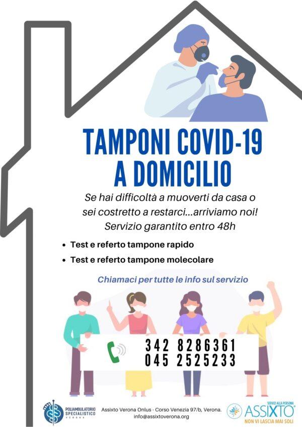 grafica sul servizio domiciliare dei test rapidi e molecolari anti covid-19 a Verona